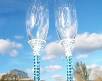 Something Blue Wedding Champagne Flute
