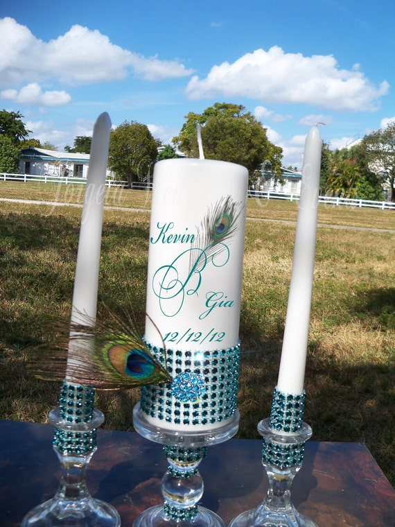 Peacock Bling Unity Candles and Holder Set