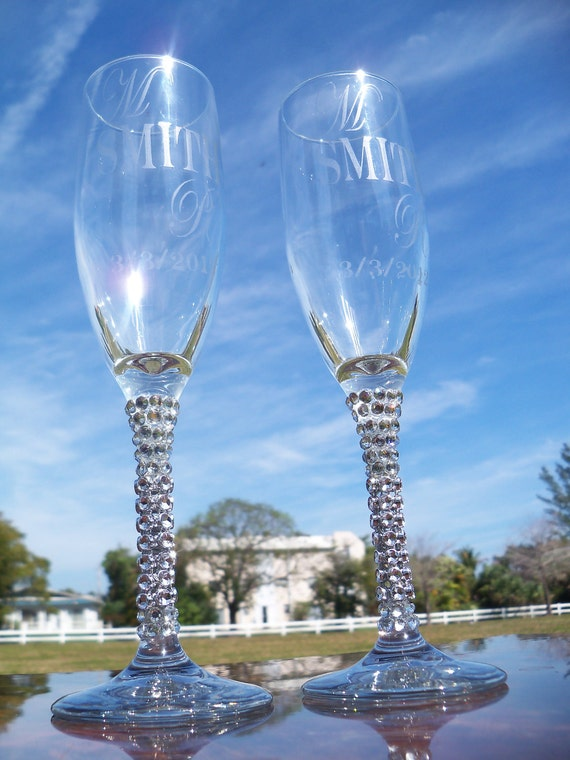 Bling Etched Wedding Flutes, Champagne Glass, Wedding Glass, Flute,