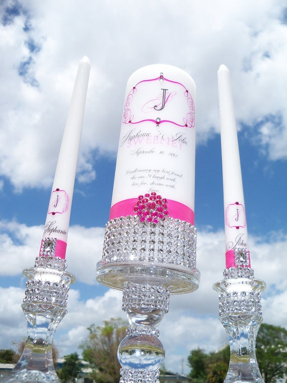 Hot Pink Unity Candle Set........Matching Holders Included