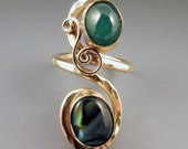 Emerald and Abalone Golden Ring