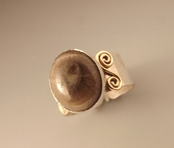 Michigan Petoskey Stone Ring with Gold Swirl