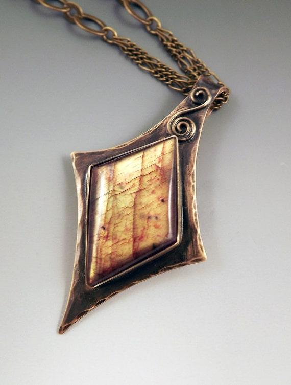 Red Labradorite Smokey Bronze Patina Metal Art -One of a Kind Pendant Necklace