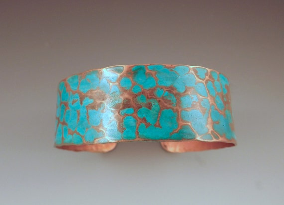 Copper Turquoise Patina Cuff- Smallest