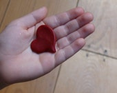 A heart for your pocket red or blue polymer clay heart shaped charm
