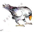 crow raven original painting  watercolor bird art 5x7 inches original painting bird