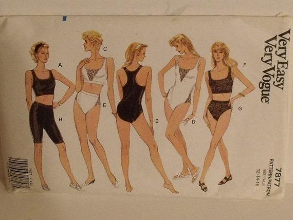 Hold for Gleny Vintage Sewing Pattern Vogue 7877 Top Panty Shorts Bodysuit