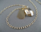 SALE NECKLACE Gold Crystal and Tag Necklace