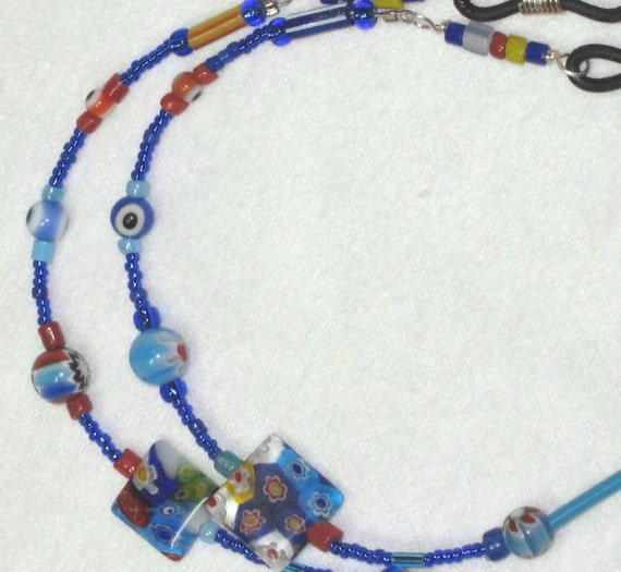 Eyeglass Holder, Brite blues and multi mixed funky fun with glass millefiori, eyeball and seed bead mix