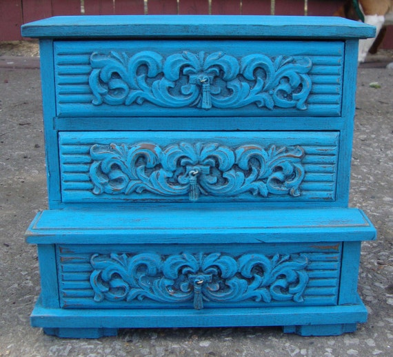 Vintage Jewelry Box Shabby Chic Antiqued Turquoise Music Box