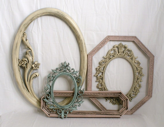 Shabby Chic Picture Frames French Romantic Blue Ivory Rose Ornate Large Sizes