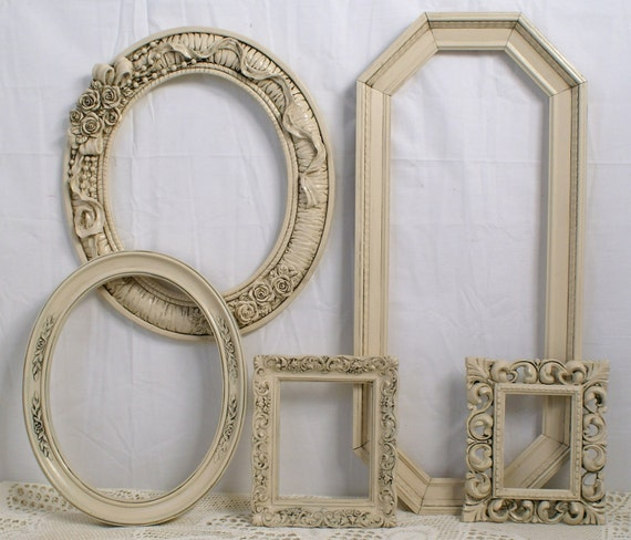 Shabby Chic Picture Frames French Romantic Ivory Ornate Vintage