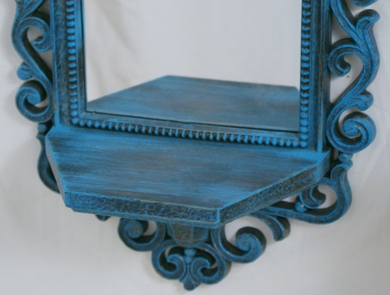 RESERVED FOR C. Shabby Chic Vintage Mirrored Shelf Ornate