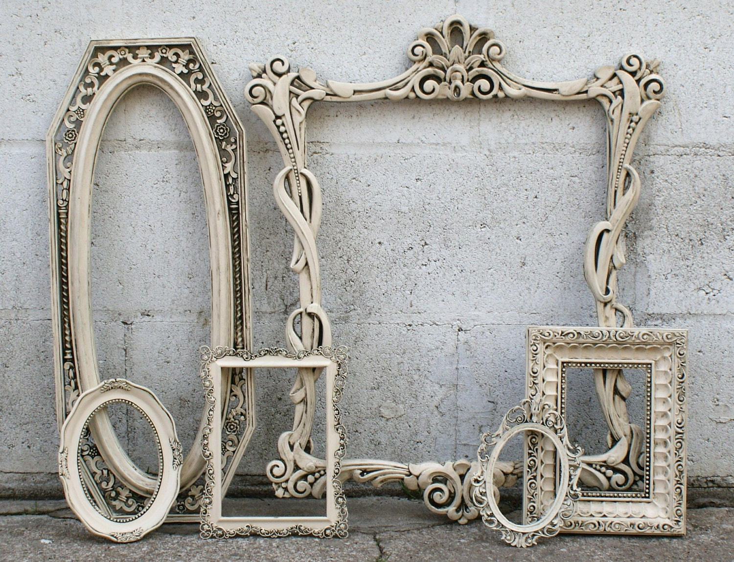 shabby chic picture frames french romantic ivory ornate with. Black Bedroom Furniture Sets. Home Design Ideas