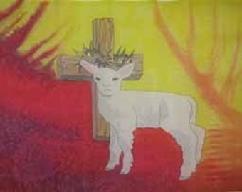 Lamb of God Hand Painted Silk Flag For Praise Worship or Dance