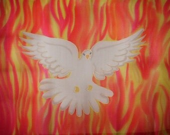 Holy Spirit Fire Hand Painted Silk Worship Flag For Praise Worship or Dance