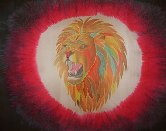 Roaring Lion No Weapon Hand Painted Silk Worship Flag For Praise Worship or Dance