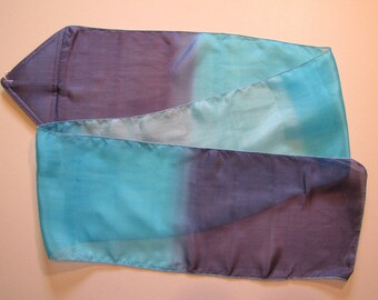 Blue Silk Deep Calls to Deep Hand Painted Hand Dyed Silk Streamer Flag WITH Rod For Praise Worship or Dance
