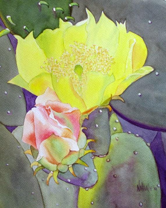 Prickly Pear Cactus Flowers Watercolor Fine Art Print 8x10 Nathalie Kelley