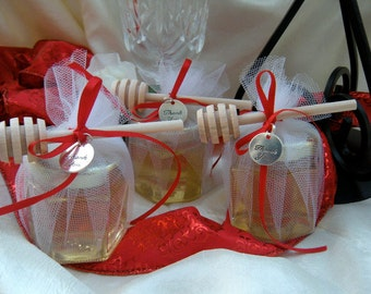 Wedding  Favors, Honey Jars With Wood Dippers, Fresh Antibiotic Free Raw  Honey, 48