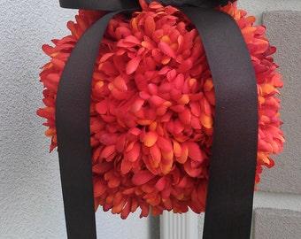Fall Wedding Decor, Pomander Kissing Ball Orange