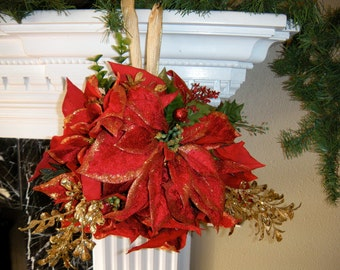 Unique Christmas Mantel, Red Kissing Ball, Doorway Holiday Decor