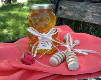 Edible Gourmet Hostess Gift, Raw  Honey, Bear Jar,  Wooden Dippers, Gift Set