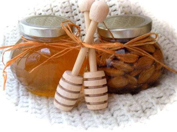 Edible Christmas  Gift, Honey & Almond Combo, Wooden Dippers, FRESHLY FILLED