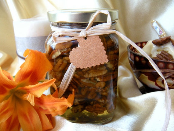 Gourmet Mother's Day Gift,  Raw Honey & Pecans Jar, Edible Gift