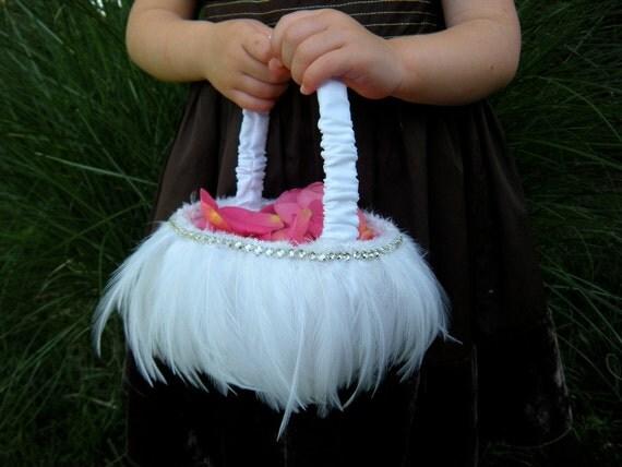 Wedding Ceremony, Flower Girl Basket, White Feathers & Rhinestones