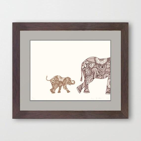 Following Mommy - Patterned Elephants