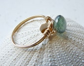 Moss aquamarine Ring- Gemstone ring- March birthstone ring- wire wrapped stone ring in gold filled- cocktail ring, All size avaiable