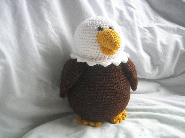Amigurumi Gingerbread Man Free Pattern : Bailey the Bald Eagle Amigurumi Plush Crochet PATTERN ONLY
