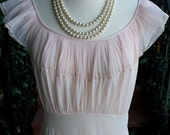 The Bow: Off-Shoulder Sheer Midcentury Pleated Pink Gown (36-30-Free)
