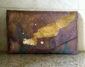 80's style Clutch Purse Purple & Lightning Bolts - Party