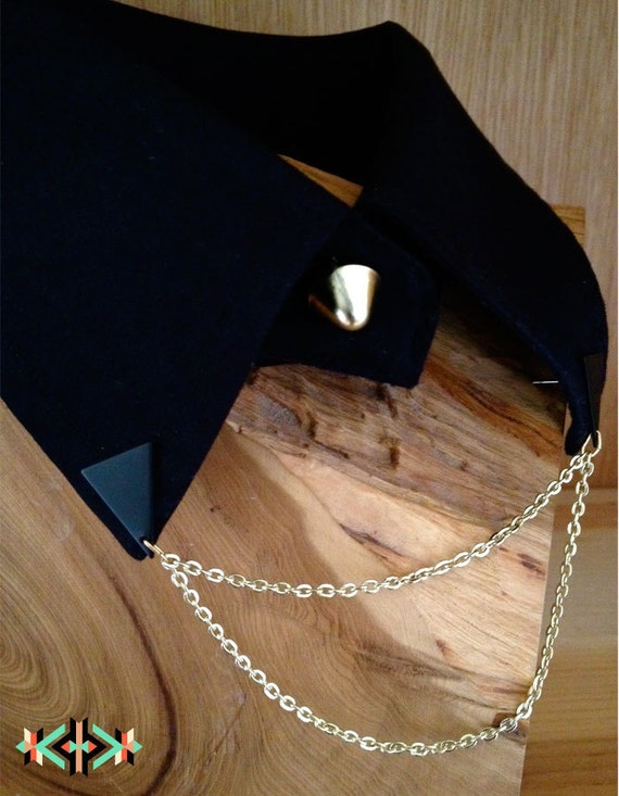 BLACK NIGHT - Black Re-purposed Collar with tiered chain