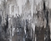 Foggy Day - Original abstract acrylic painting in shades of gray and taupe, charcoal and black