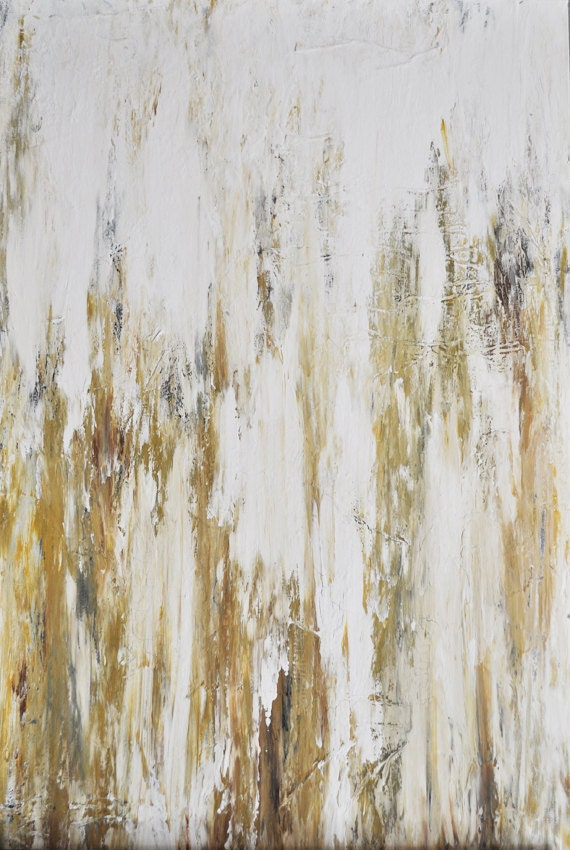 Sunny Disposition - Original abstract painting in white, gold, yellow, cream, hint of charcoal and terra cotta