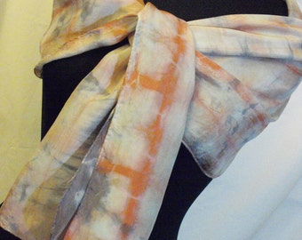 One of kind Hand Dyed Silk Scarf. Main colors red and bllue