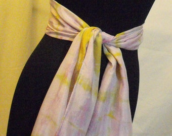 One of kind Hand Dyed Silk Scarf. Main colors pink and lime green