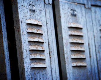 Old Blue Rusty Lockers 8x10 photograph rustic still life photography