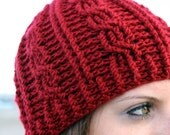 Ladies Red Cable Crochet Beanie