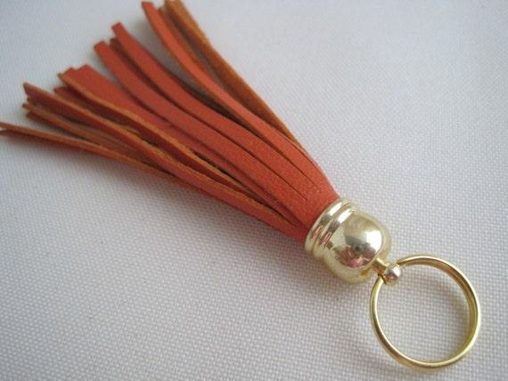 Orange Leather Tassel Keychain, Gold Hardware