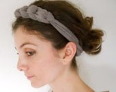 fabric headband Necklace for women in light grey brown color made of elastic fabric