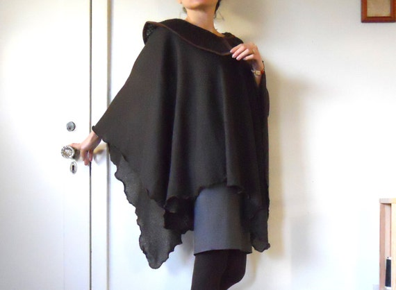 Cape poncho in chocolate color with asymmetric collar made of sweater knit fabric