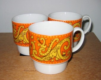 60's MOD Coffee Cups. Groovy Yellow and Orange Paisley design. Danish Modern. Eames era. Mid century. Mod Panton.