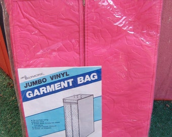 Vintage 1960's Hot Pink Garment Bag.  New old stock in package.    Mid century modern, Danish Modern, Eames era. Deco.