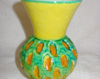 Mid Century Modern Art Pottery Vase.  Made in Italy.  Vintage 1960's.   Yellow Green and Gold Glaze.