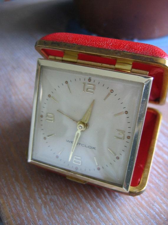 Folding Alarm Clock.  RED, Vintage, Westclox.  Works great.  Mid century, Hollywood Regency, 1960's Travel alarm, Made in Japan.