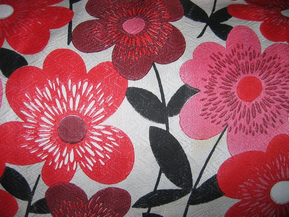 60's Flower Power FABRIC Curtains.  REPAIR.  Vintage. Groovy fiberglass fabric in Red, Pink, and Black on beige. Eames Era, Mid Century Modern.